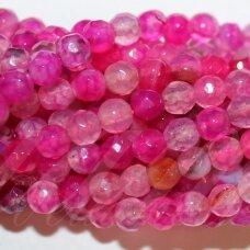 jskaa0043-apv-br-04 apie 4 mm, apvali forma, briaunuotas, marga, rožinė spalva, agatas, apie 92 vnt.