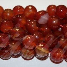 jskaa0090-apv-br1-12 apie 12 mm, apvali forma, briaunuotas, marga, ruda spalva, agatas, apie 32 vnt.