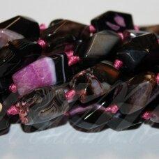 jskaa0114-pai-br-20x12-24x14 apie 20 x 12 - 24 x 14 mm, pailga forma, briaunuotas, juoda spalva, rožinė spalva, marga spalva, agatas, 15 vnt.