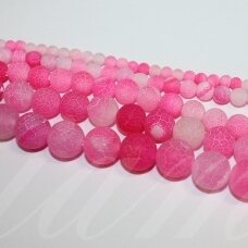 jskaa0168-apv-12 apie 12 mm, apvali forma, marga, matinė, rožinė spalva, agatas, apie 32 vnt.