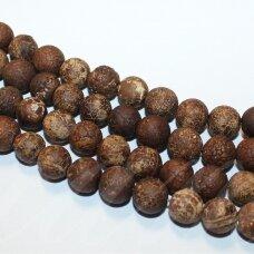 jskaa0184-apv-06 apie 6 mm, apvali forma, marga, ruda spalva, matinis, agatas, apie 48 vnt.