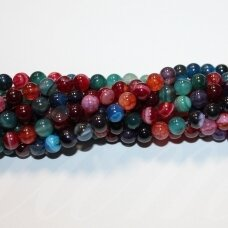 jskaa0307-apv-04 about 4 mm, round shape, colourful color, agate, about 92 pcs.