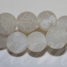 jskaa0323-apv-12 apie 12 mm, apvali forma, marga, matinė, balta spalva, agatas, 32 vnt.
