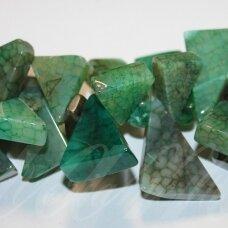 jskaa0363-trik-15x20x8-30x35x10 apie 15 x 20 x 8 - 30 x 35 x 10 mm, trikampio forma, marga, žalia spalva, agatas, apie 38 cm.