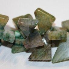 jskaa0364-trik-15x20x8-30x35x10 apie 15 x 20 x 8 - 30 x 35 x 10 mm, trikampio forma, marga, šviesi, žalia spalva, agatas, apie 38 cm.