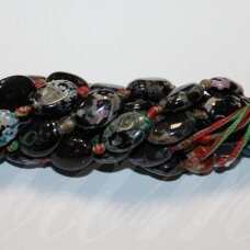 jskaa0517-oval-20x15x6 about 20 x 15 x 6 mm, oval shape, colourful color, agate, 17 pcs.