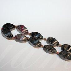jskaa0517-pai-4br-suk-20x10 about 20 x 10 mm, oblong shape, four edges, twisted, colourful color, agate, 16 pcs.