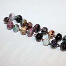 jskaa0517-ron-10x14 about 10 x 14 mm, rondelle shape, colourful color, agate, about 28 pcs.