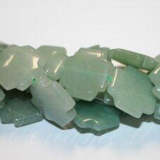 jskaav-zal-kr-20x20x6 apie 20 x 20 x 6 mm, kryželio forma, žalias avantiurinas, 19 vnt.