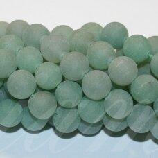 jskaav-zal-mat-apv-12 apie 12 mm, apvali forma, matinė, žalias avantiurinas, apie 32 vnt.
