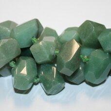 jskaav-zal-net-10x15x10-18x20x13 apie 10 x 15 x 10 - 18 x 20 x 13 mm, netaisyklinga forma, daugiabriaunis, žalias avantiurinas, apie 40 cm.