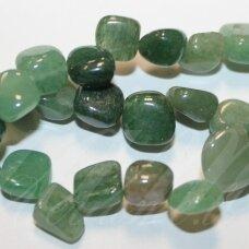 jskaav-zal-net3-5x10-10x15 apie 5 x 10 - 10 x 15 mm, netaisyklinga forma, žalias avantiurinas, apie 38 cm.
