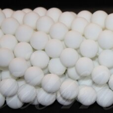 JSKABALT-MAT-APV-10 apie 10 mm, apvali forma, matinis, baltas oniksas, apie 39 vnt.