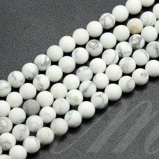 jskah-balt-mat-apv-08 apie 8 mm, apvali forma, matinė, balta spalva, hovlitas, apie 47 vnt.