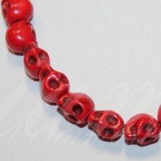 jskah-kauk18-10x8 apie 10 x 8 mm, kaukolės forma, raudona spalva, hovlitas, apie 38 vnt.