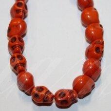 jskah-kauk21-10x8 apie 10 x 8 mm, kaukolės forma, oranžinė spalva, hovlitas, apie 38 vnt.