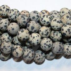 jskaja-dalm-mat-apv-06 apie 6 mm, apvali forma, matinė, dalmantininis jaspis, apie 62 vnt.