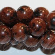 "jsmob-apv-12 apie 12 mm, apvali forma, ""Mahogany Obsidian"", apie 32 vnt."