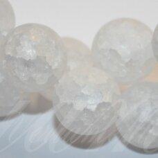 jskakkm-apv-10 apie 10 mm, apvali forma, matinė, daužtas, kalnų krištolas, apie 40 vnt.