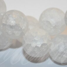 jskakkm-apv-12 apie 12 mm, apvali forma, matinė, daužtas, kalnų krištolas, apie 33 vnt.