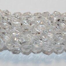 JSKAKKSK-NET-10 apie 10 mm, netaisyklinga forma, daugiabriaunis, skaidrus, kalnų krištolas, apie 38 vnt.