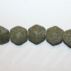 JSKALAV-CHAK-6KAMP-21,5x23,5x10 apie 21,5 x 23,5 x 10 mm, šešiakampio forma, chaki spalva, lava, 19 vnt.