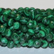 jskaml-apv-br1-10 apie 10 mm, apvali forma, briaunuotas, malachitas, apie 39 vnt.