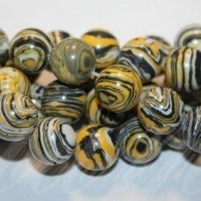 jskaml-gelt-apv-08 apie 8 mm, apvali forma, sintetinis, geltona spalva, malachitas, apie 48 vnt.