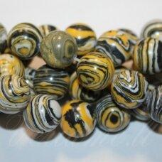 JSKAML-GELT-APV-10 apie 10 mm, apvali forma, sintetinis, geltona spalva, malachitas, apie 38 vnt.