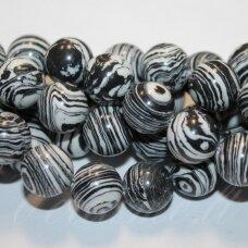 jskaml-juod-apv-08 apie 8 mm, apvali forma, sintetinis, juoda spalva, malachitas, apie 48 vnt.