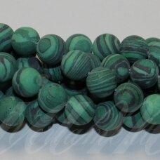 jskaml-mat-apv-12 apie 12 mm, apvali forma, matinė, malachitas, apie 32 vnt.