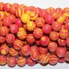 jskaml-rg-apv-06 apie 6 mm, apvali forma, sintetinis, geltona spalva, raudona spalva, malachitas, apie 48 vnt.