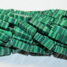 jskaml-stac1-13x4x4 apie 13 x 4 x 4 mm, stačiakampio forma, malachitas, apie 28 vnt.