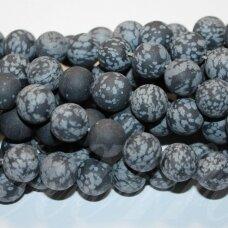 jskaob-mat-apv-04 apie 4 mm, apvali forma, matinis, snaiginis obsidianas, apie 90 vnt.