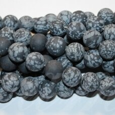 jskaob-mat-apv-12 apie 12 mm, apvali forma, matinis, snaiginis obsidianas, apie 32 vnt.