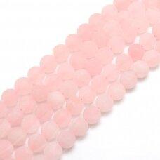 jskarz-mat-apv-10 apie 10 mm, apvali forma, matinė, rožinis kvarcas, apie 39 vnt.