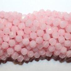 jskarz-net3-08 apie 8 mm, netaisyklinga forma, daugiabriaunis, rožinis kvarcas, apie 48 vnt.