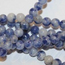 """jsbsj-apv-12 apie 12 mm, apvali forma, """"blue spot jasper"""", apie 33 vnt."""