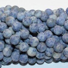 """jsbsj-mat-apv-10 apie 10 mm, apvali forma, matinė, """"blue spot jasper"""", apie 38 vnt."""
