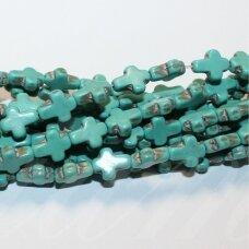 JSKAT-KRYZ2-10x8.5x3.5 apie 10 x 8.5 x 3.5 mm, kryželio forma, turkis, apie 38 vnt.