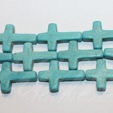 JSKAT-KRYZ2-30x20x5.5 apie 30 x 20 x 5.5 mm, kryželio forma, turkis, 14 vnt.