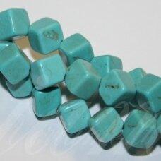 jskat-kub1-04 apie 4 mm, kubo forma, veriama iš kampo į kampą, turkis, apie 72 vnt.