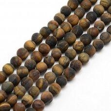 JSKATA-MAT-RUD-APV-10 apie 10 mm, apvali forma, matinis, ruda spalva, tigro akis, apie 38 vnt.