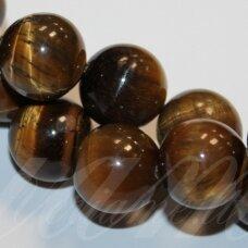JSKATA-RUD-APV-12 apie 12 mm, apvali forma, ruda spalva, tigro akis, apie 32 vnt.