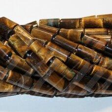 JSKATA-RUD-CIL-16x8 apie 16 x 8 mm, cilindro forma, ruda spalva, tigro akis, apie 23 vnt.