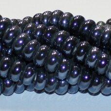 JSKER0001-RON-05x10 apie 5 x 10 mm, rondelės forma, tamsi, hematito spalva, keramikiniai karoliukai, apie 53 vnt.