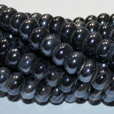 jsker0001-ron-05x8 about 5 x 8 mm, rondelle shape, dark, hematite color, ceramic beads, about 60 pcs.