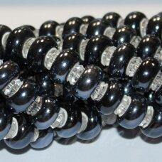 jsker0001-ron-07x13 apie 7 x 13 mm, skylė 6 mm, rondelės forma, tamsi, hematito spalva, keramikiniai karoliukai, apie 25 vnt.