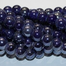 jsker0002-apv-08 about 8 mm, round shape, dark, blue color, ceramic beads, about 40 pcs.