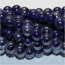 jsker0002-apv-10 about 10 mm, round shape, dark, blue color, ceramic beads, about 30 pcs.